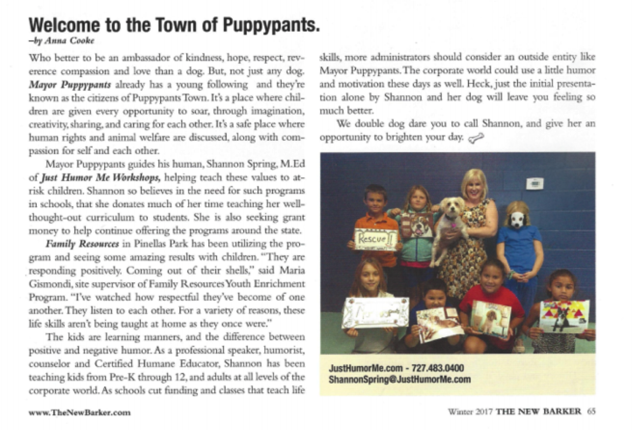 Mayor Puppypants, Just Humor Me's Dog Professor featured in The New Barker!